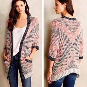 Anthropologie Moth striped short sleeve cardigan